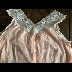 Women's Vintage Pink Chiffon Nightgown
